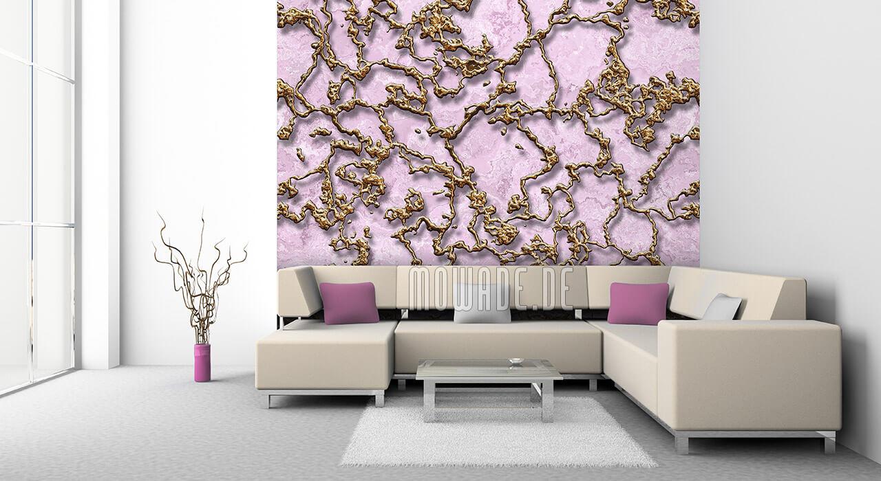 ausgefallene fototapete rosa gold struktur 3d-optik