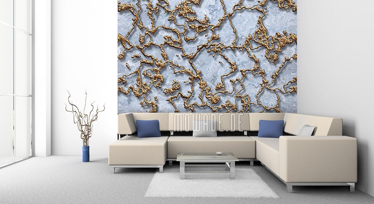 ausgefallene moderne tapete pastell-hell-blau gold struktur 3d-optik vlies