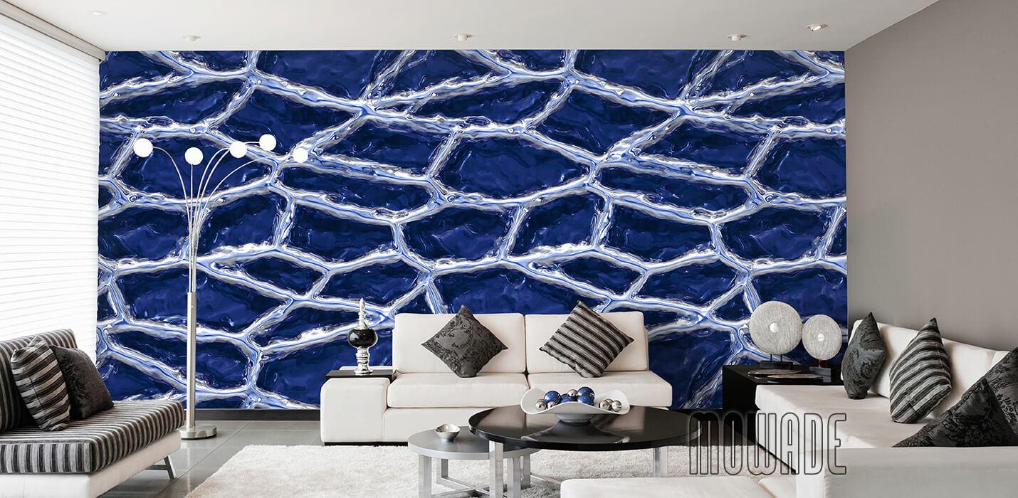 designtapete dunkelblau weiss wohnzimmer lounge stylische netzstruktur