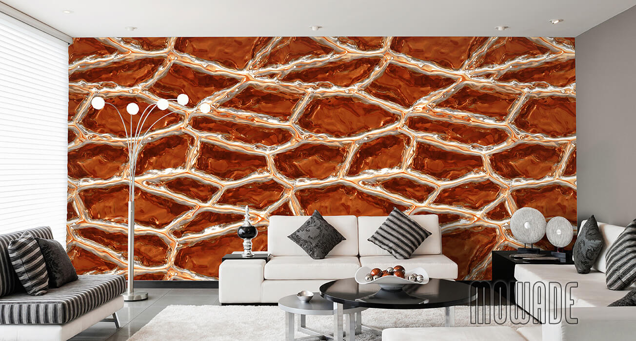 designtapete orange weiss wohnzimmer lounge stylische netzstruktur