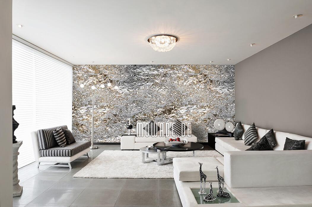 edles tapetendesign grau gold feine struktur lounge bar modern