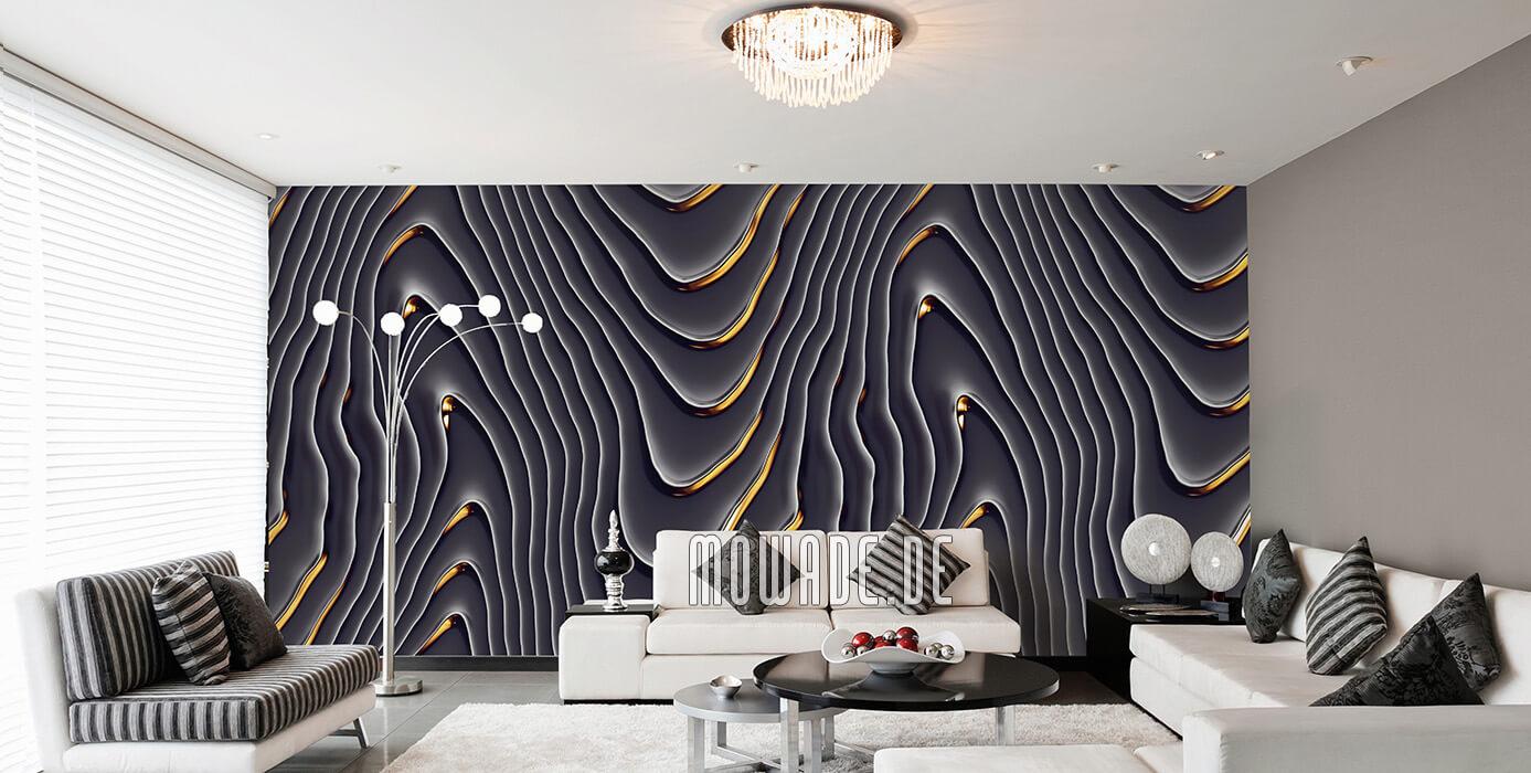 elegante Designtapete schwarz gold hotel wohnzimmer wellen-motiv
