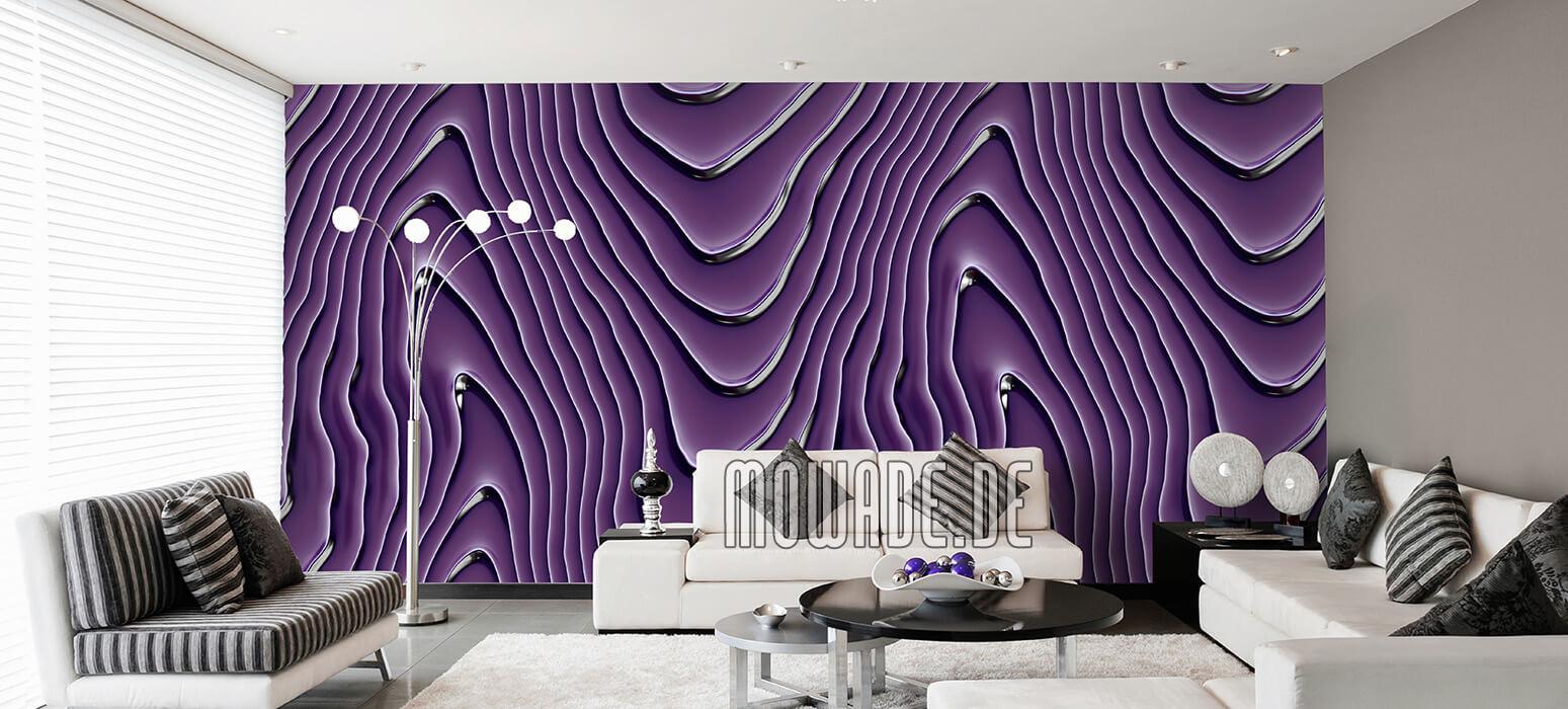 elegante tapete blauviolett silbergrau wohnzimmer wellen-motiv