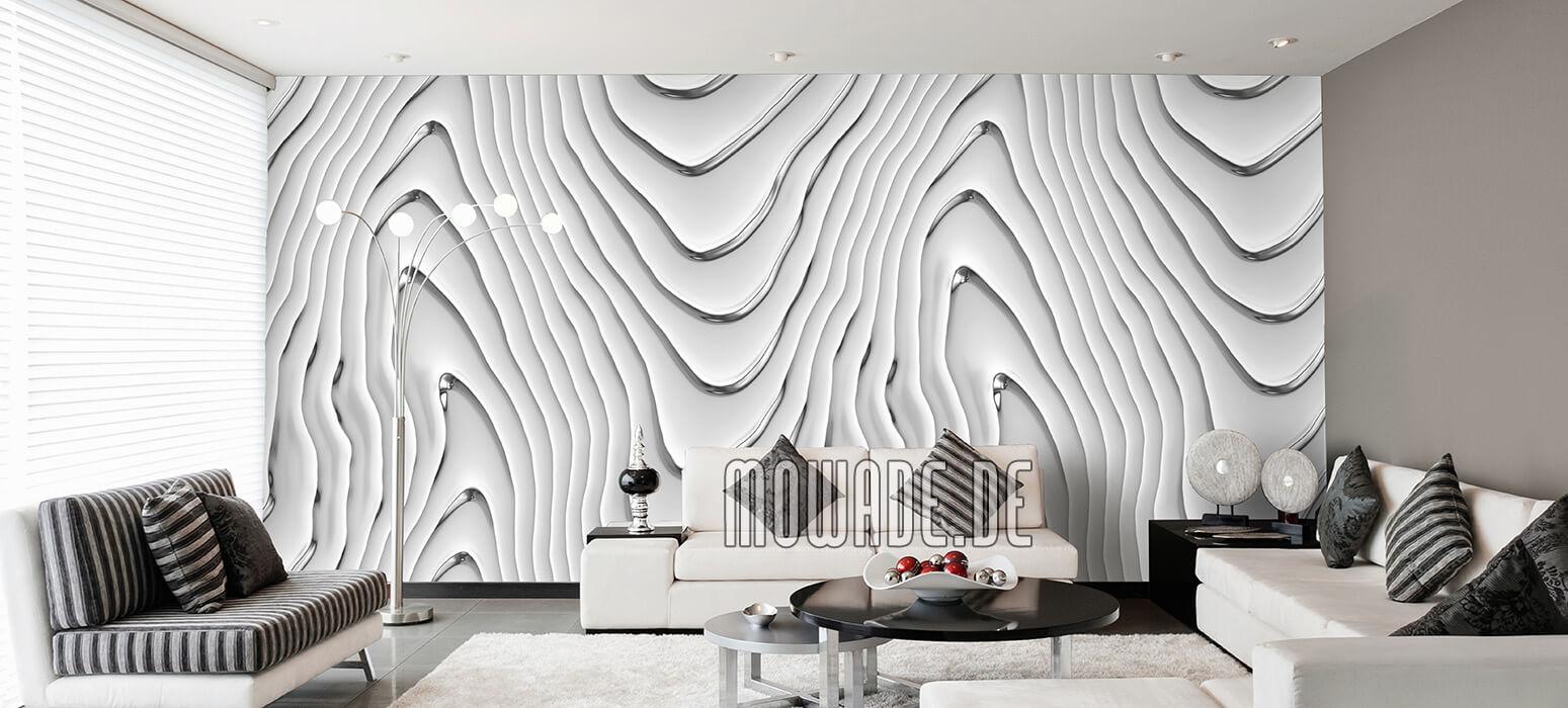 elegante tapete weiss silbergrau wohnzimmer wellen-motiv