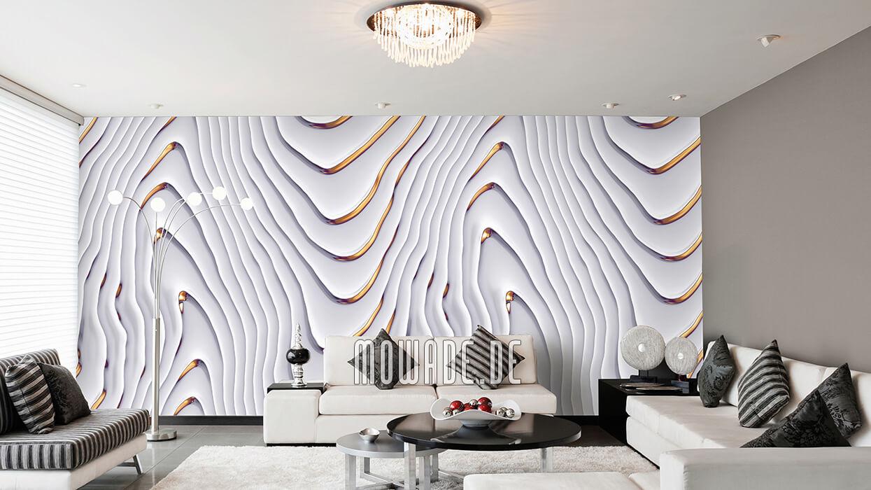 elegante vliestapete weiss gold wohnzimmer wellen-motiv