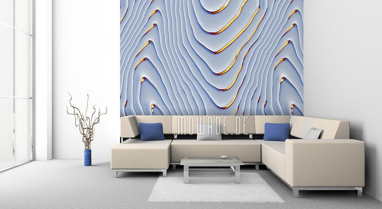 elegantes tapetendesign hellblau gold wohnzimmer lounge wellen-motiv