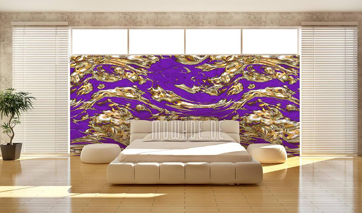 exklusives tapetendesign lila gold modern fluss