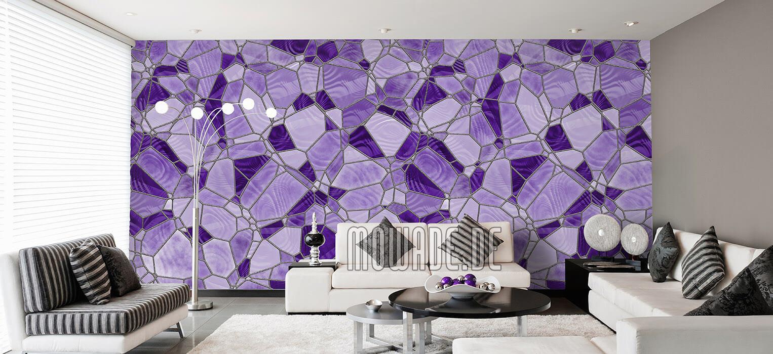 mosaik tapete violett flieder wohnzimmer design vlies