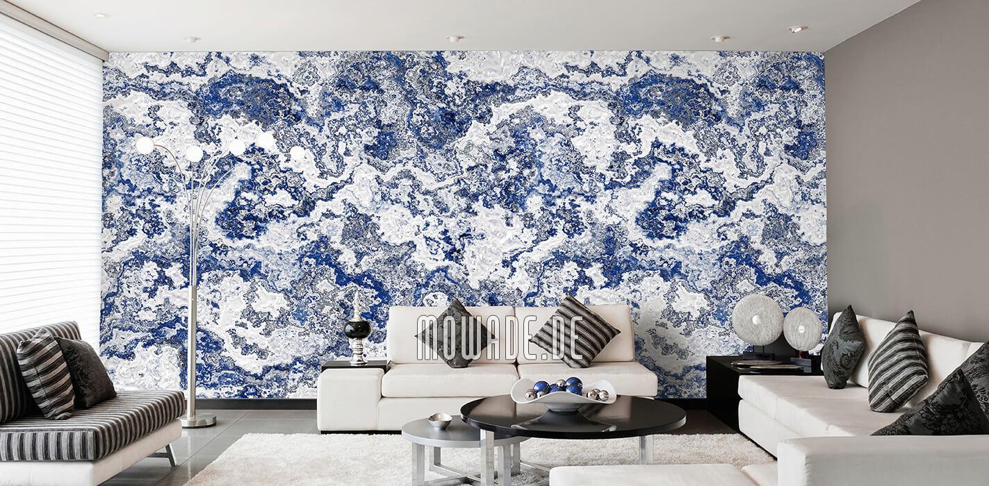 tapete weiss blau wohnzimmer erd stein struktur
