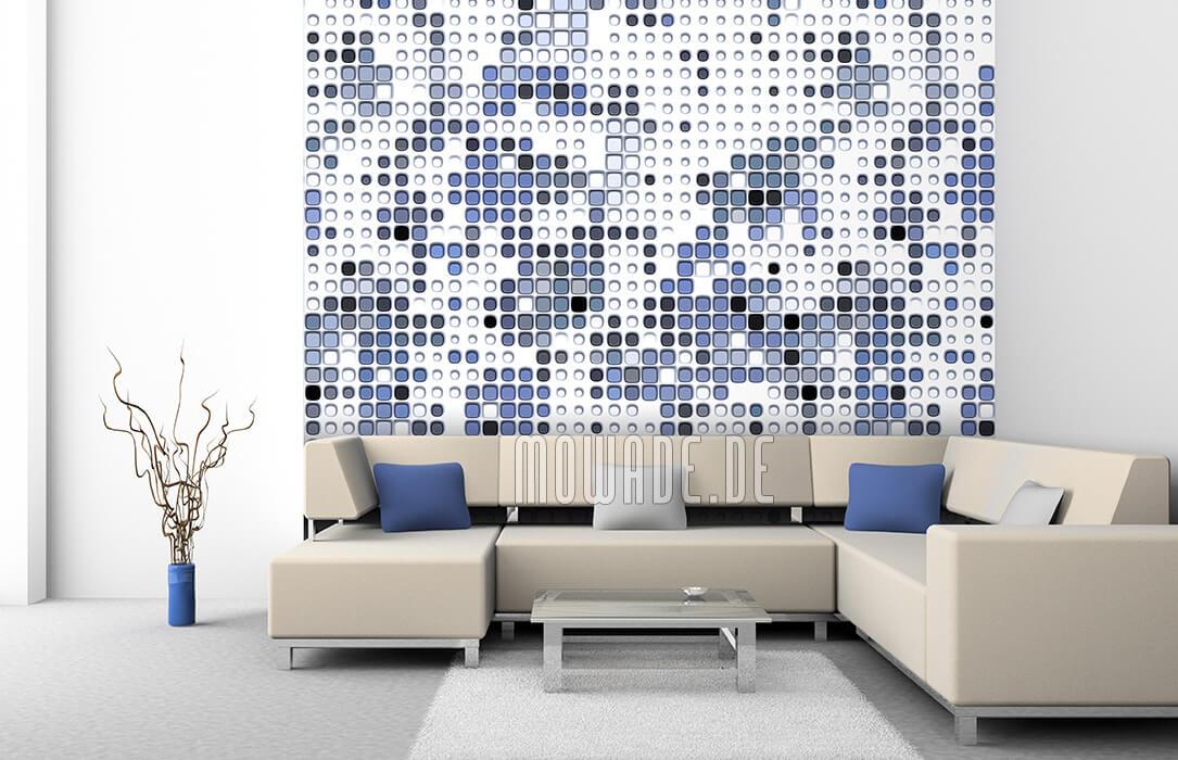 ausgefallene designer bild tapete wohnzimmer weiss blau abstrakte punkte