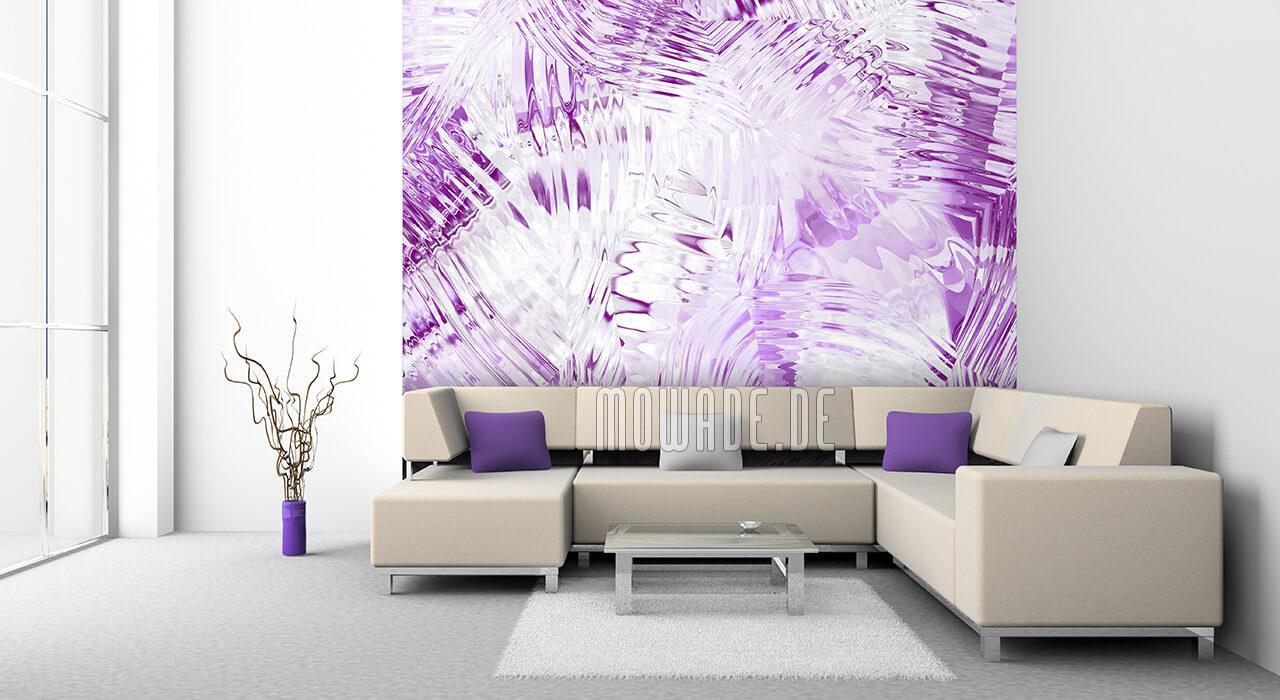 ausgefallene fototapete violett weiss modern