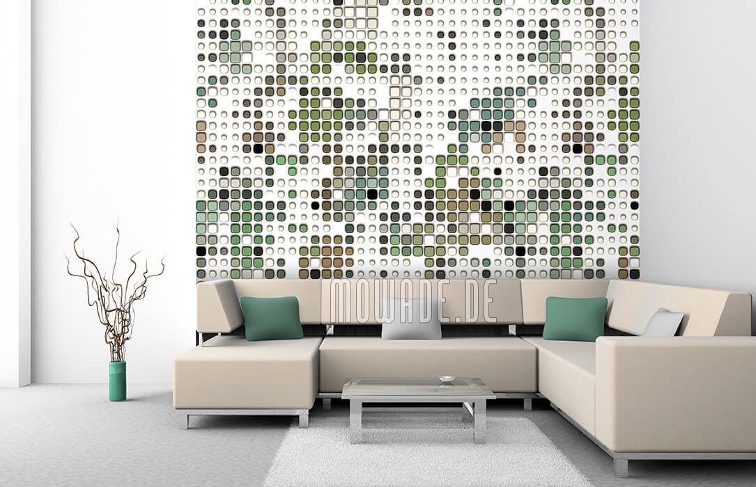 ausgefallenes wandmotiv bild tapete weiss gruen braun abstrakte punkte