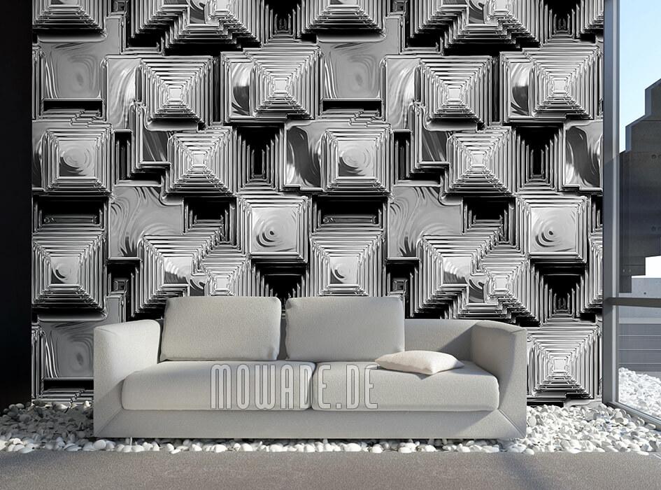 besondere fototapete silber-grau pyramiden stadt metall-optik