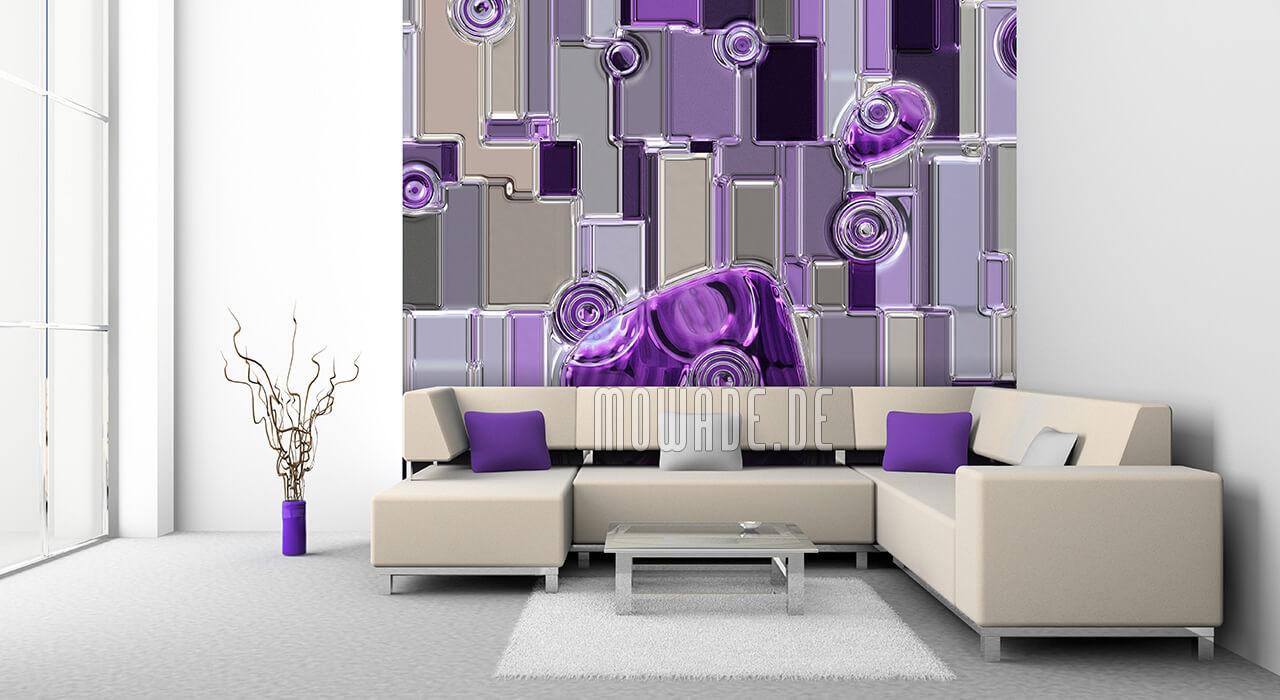 bild-tapete violett grau metall-look relief rechtecke-kreise