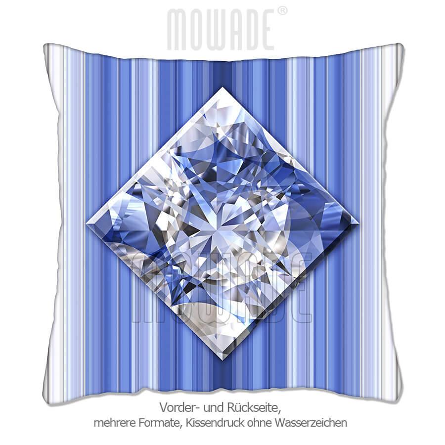 deko-kissen diamant facetten bild blau weiss streifen wohn-schlaf-zimmer 70x70 50x50 40x40