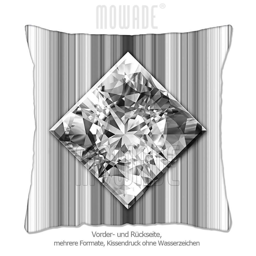 deko-kissen diamant facetten bild grau weiss streifen wohn-schlaf-zimmer 50x50 40x40