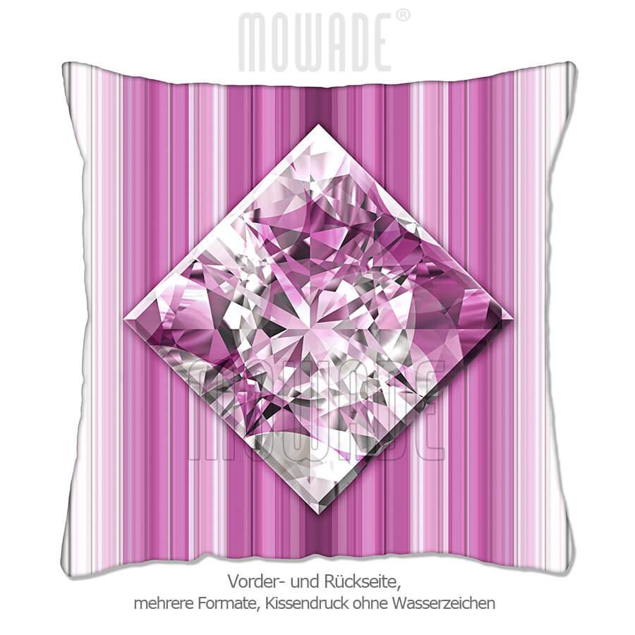 deko-kissen diamant facetten bild rosa weiss streifen wohn-schlaf-zimmer 50x50 40x40