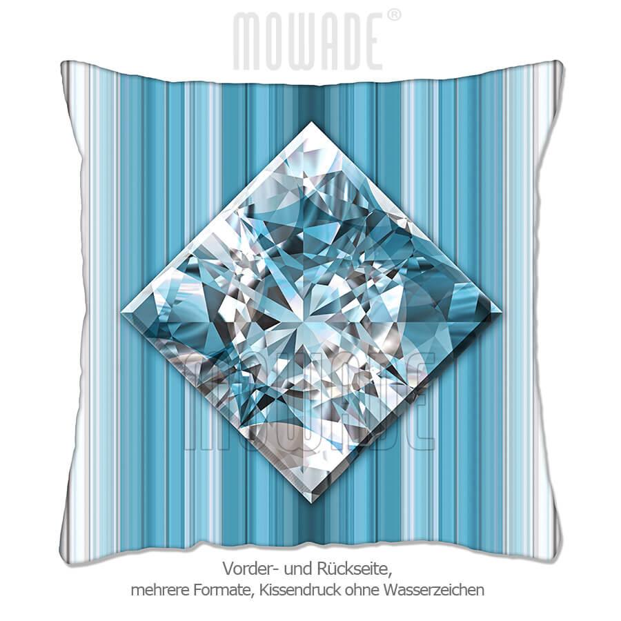 deko-kissen diamant facetten bild tuerkis weiss streifen wohn-schlaf-zimmer 70x70 50x50 40x40
