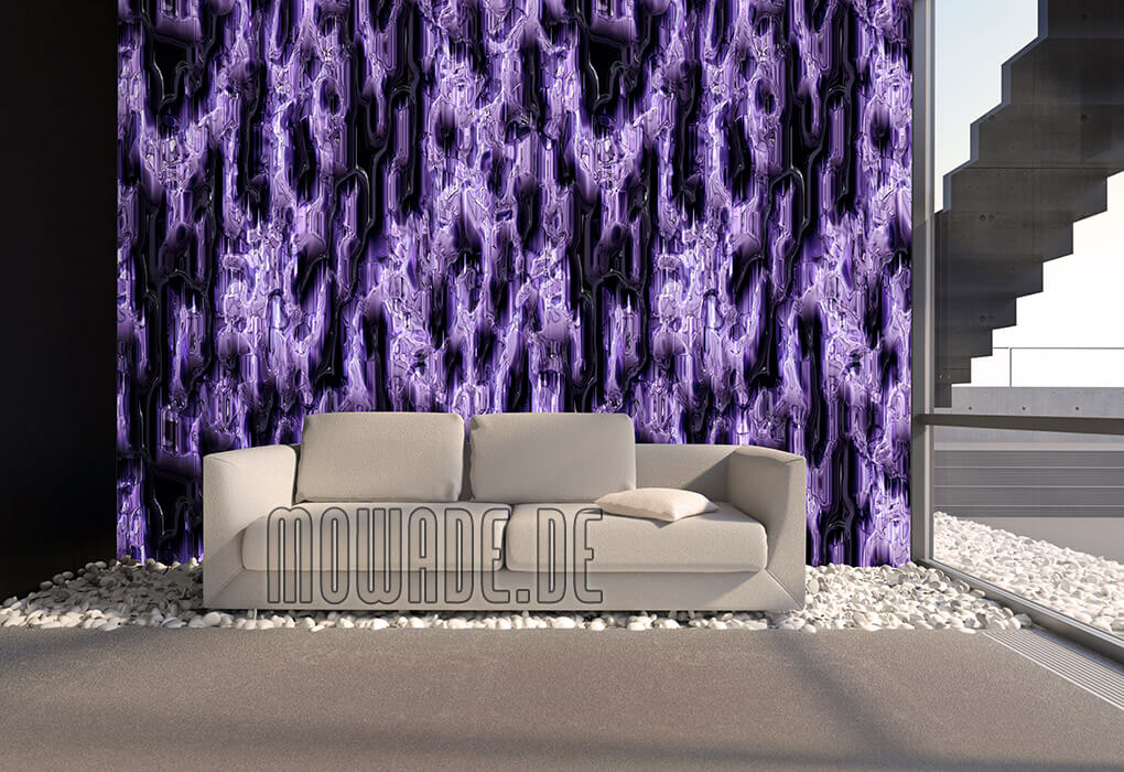 design-tapete hotel lounge bar blauviolett moderne hoehlenwand metall-optik