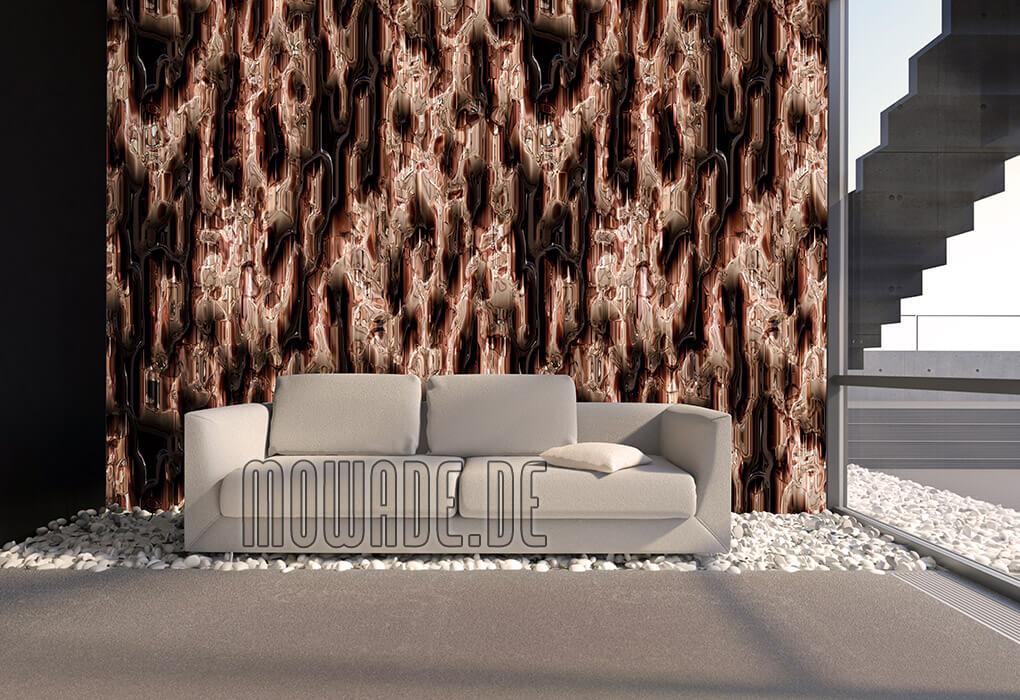 design-tapete hotel lounge bar kupfer moderne hoehlenwand metall-optik