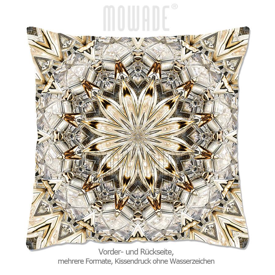 designer-kissen neo-barock quadratische rosette hellbraun sand 70x70 50x50 40x40
