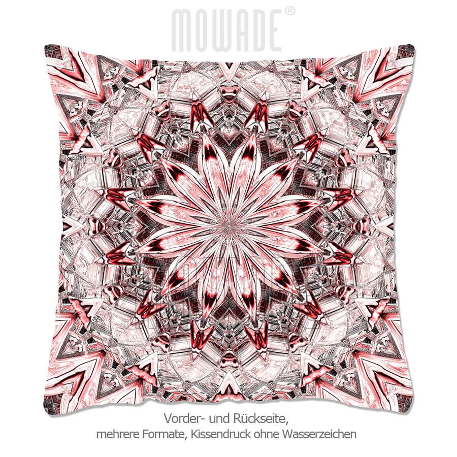 designer-kissen neo-barock quadratische rosette rot 70x70 50x50 40x40