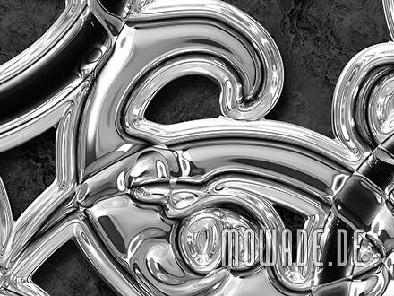 designtapete schwarz silber ornament