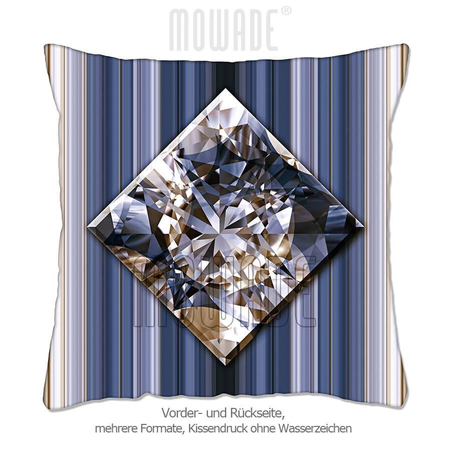 edles deko kissen schmuck bild diamant streifen grau-blau goldbraun 50x50 40x40