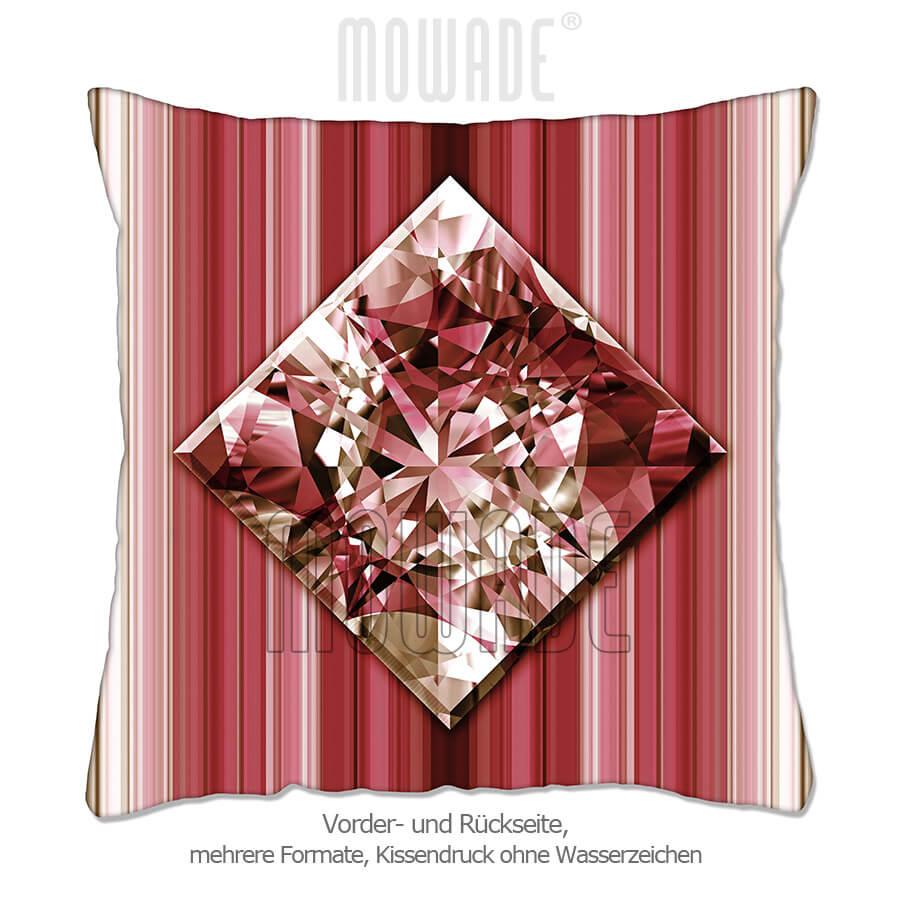 edles deko kissen schmuck bild diamant streifen rot goldbraun 50x50 40x40