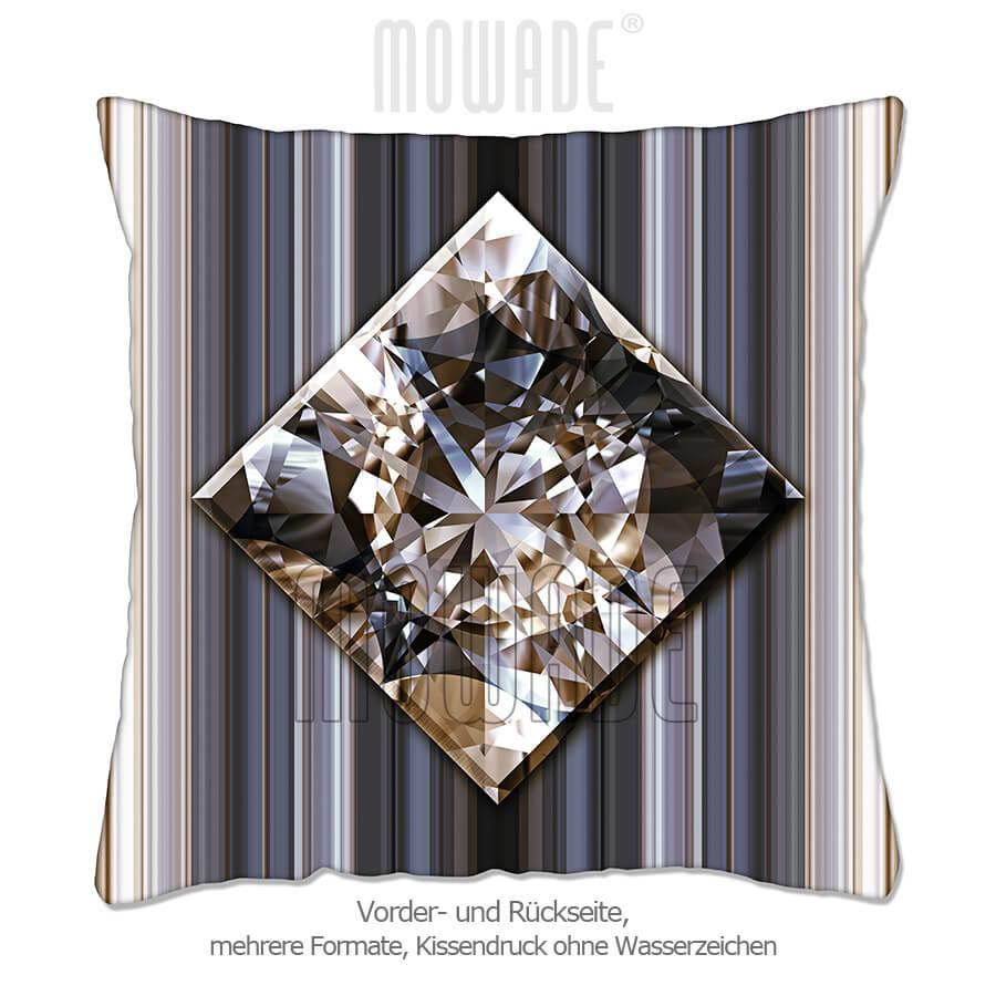 edles deko-kissen schmuck-bild diamant-streifen schwarz goldbraun 70x70 50x50 40x40