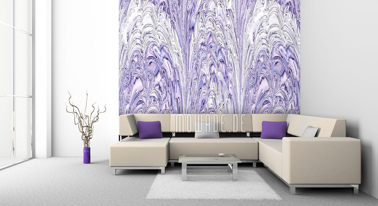 elegante bild-tapete flieder weiss wohn schlaf-zimmer fontaenen