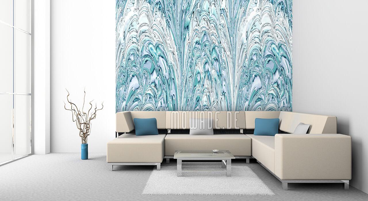 elegante bild tapete tuerkis weiss wohn-schlaf-zimmer fontaenen-spiel