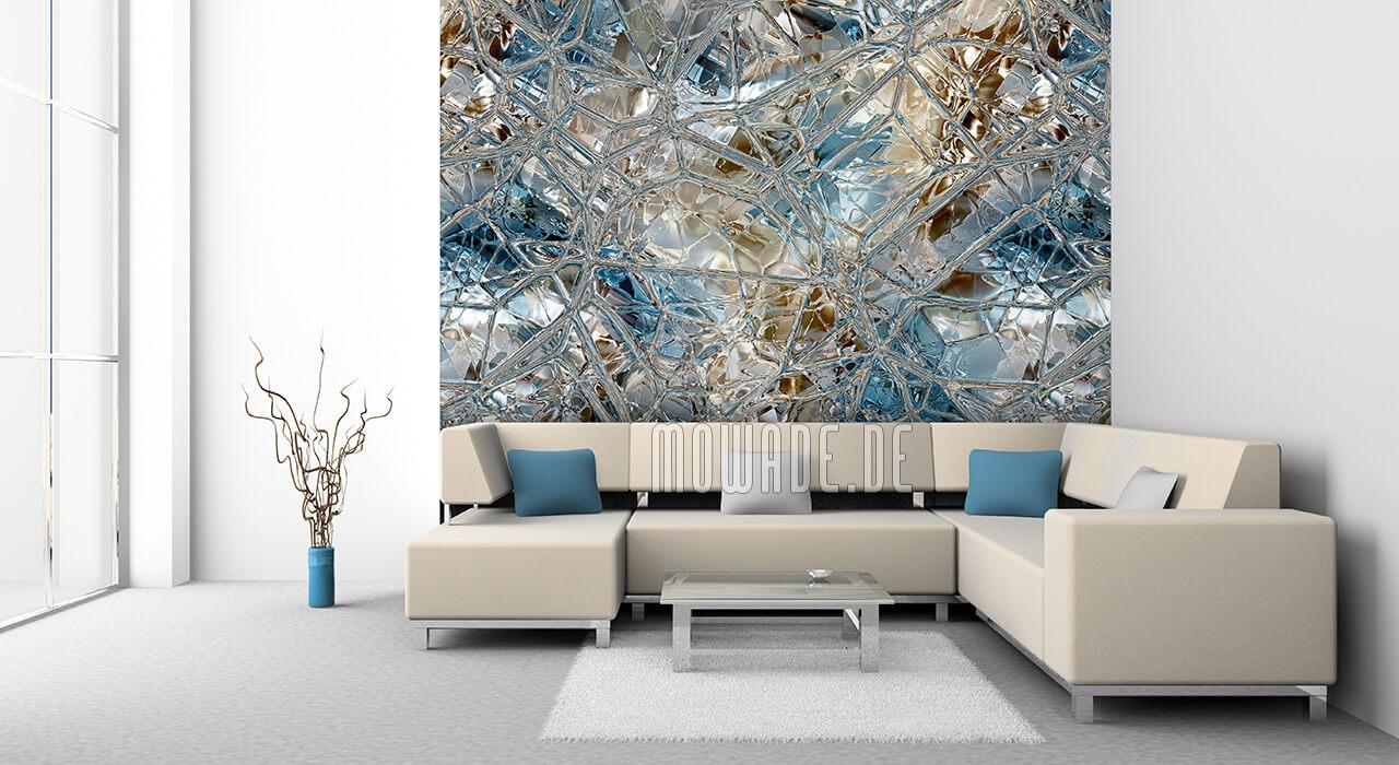 elegante designtapete tuerkis braun glas-mosaik