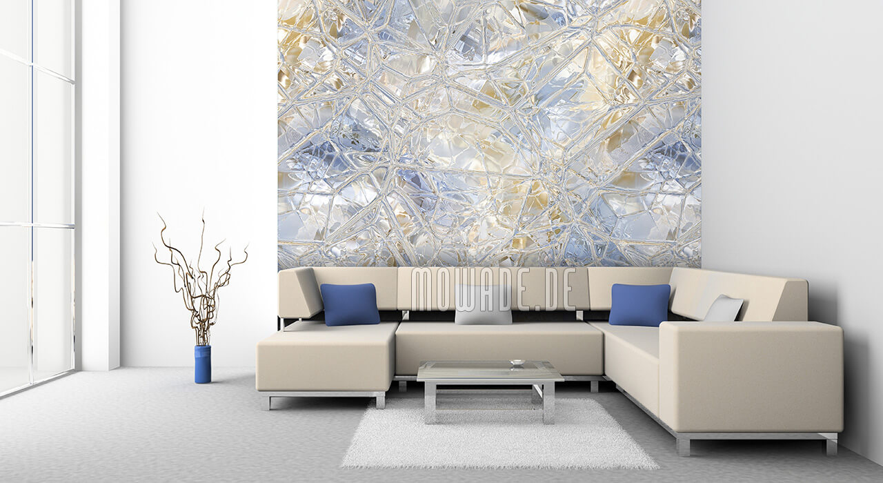 elegante tapete pastell-blau ocker-gelb mosaik-glas