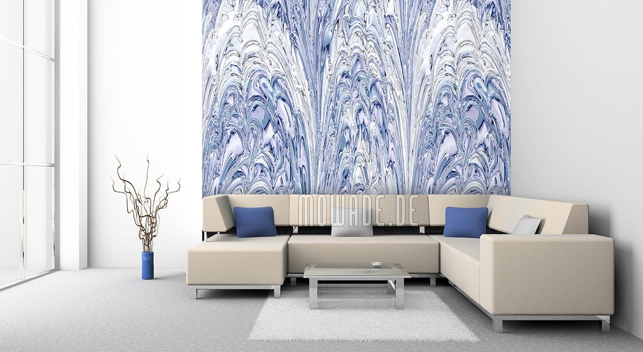 elegante wandgestaltung pastell-blau weiss tapete lounge fontaenen-spiel
