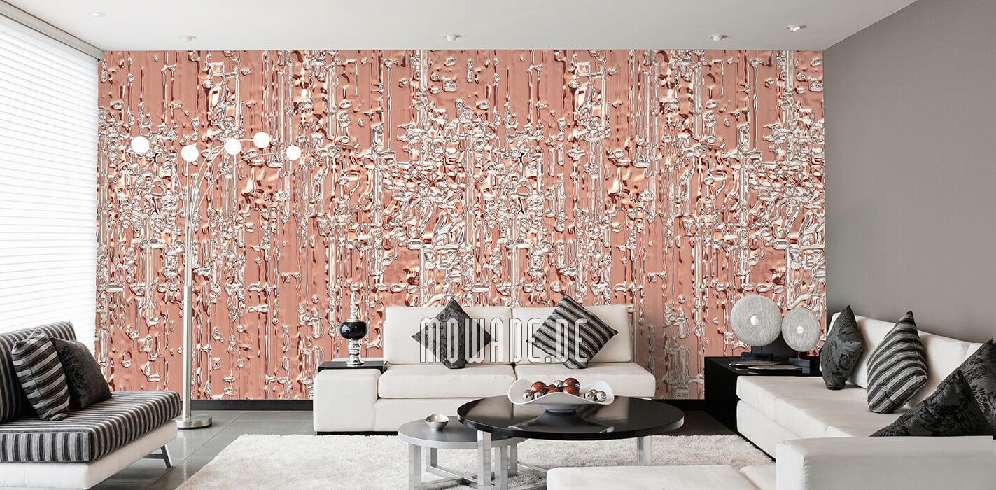 eleganter wandbelag lachs tapete wohnzimmer