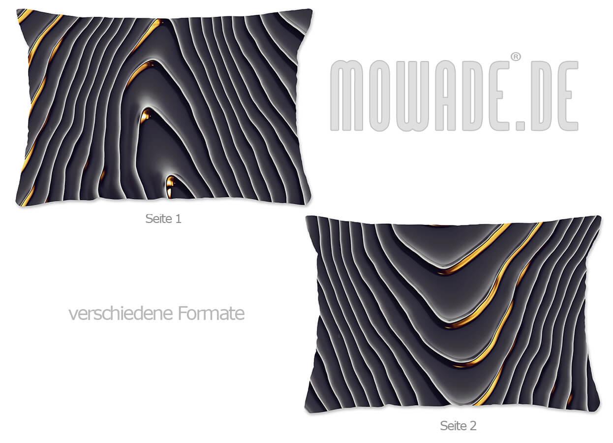elegantes sofa-kissen schwarz gold wellen-motiv kaskade 70x70-50x50 60x40 50x30 40x40