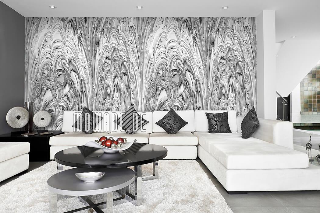 elegantes wanddesign hell-grau weiss tapete wohnzimmer objekt fontaenen-spiel