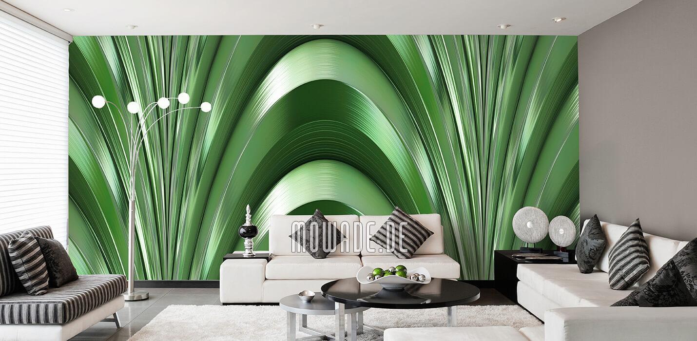 exclusive wandgestaltung wohnzimmer tapete gruen bogen