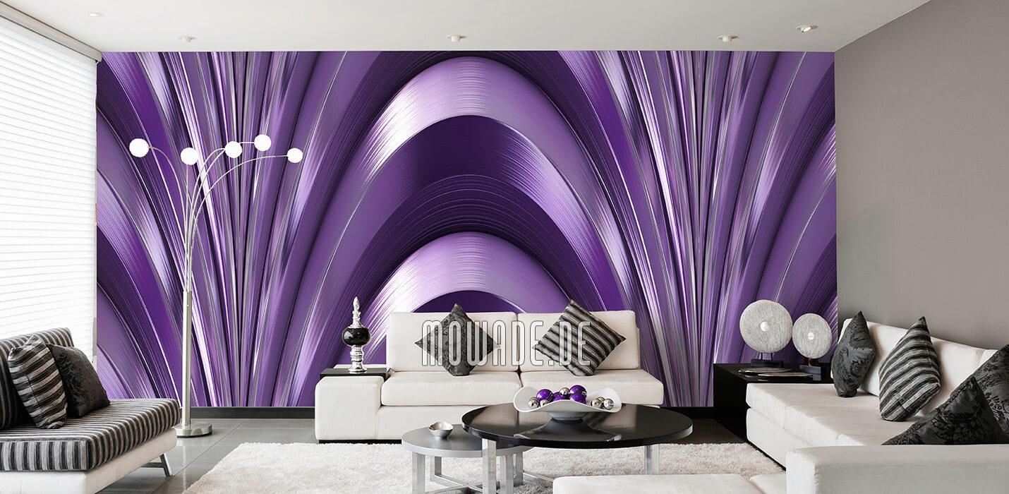 exclusives wanddesign bildtapete wohnzimmer violett bogen