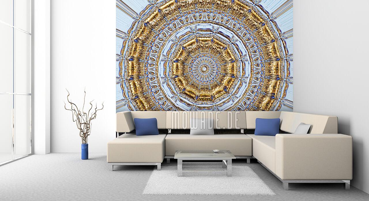 exklusive designtapete hellblau gold neo barock rosette stuck