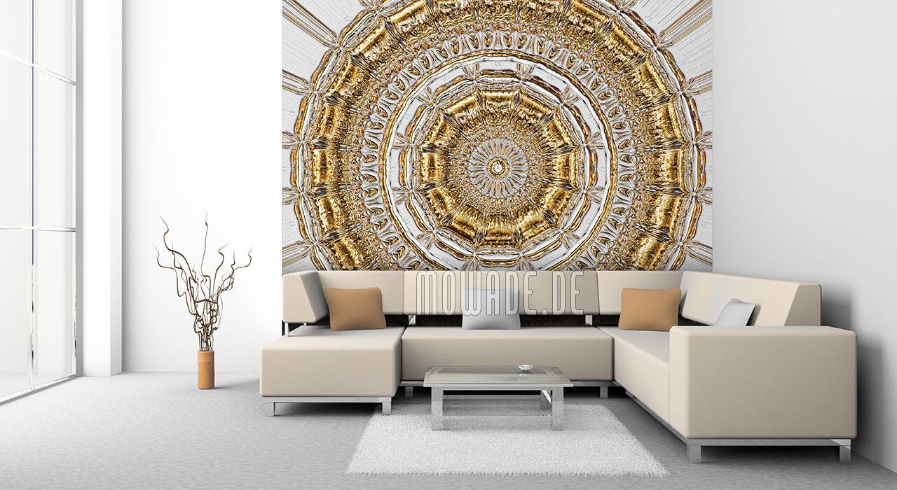 exklusive quadratische fototapete grau gold neo barock rosette-stuck