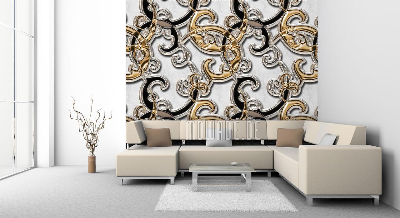exklusive wand-tapeten ornament weiss gold schwarz
