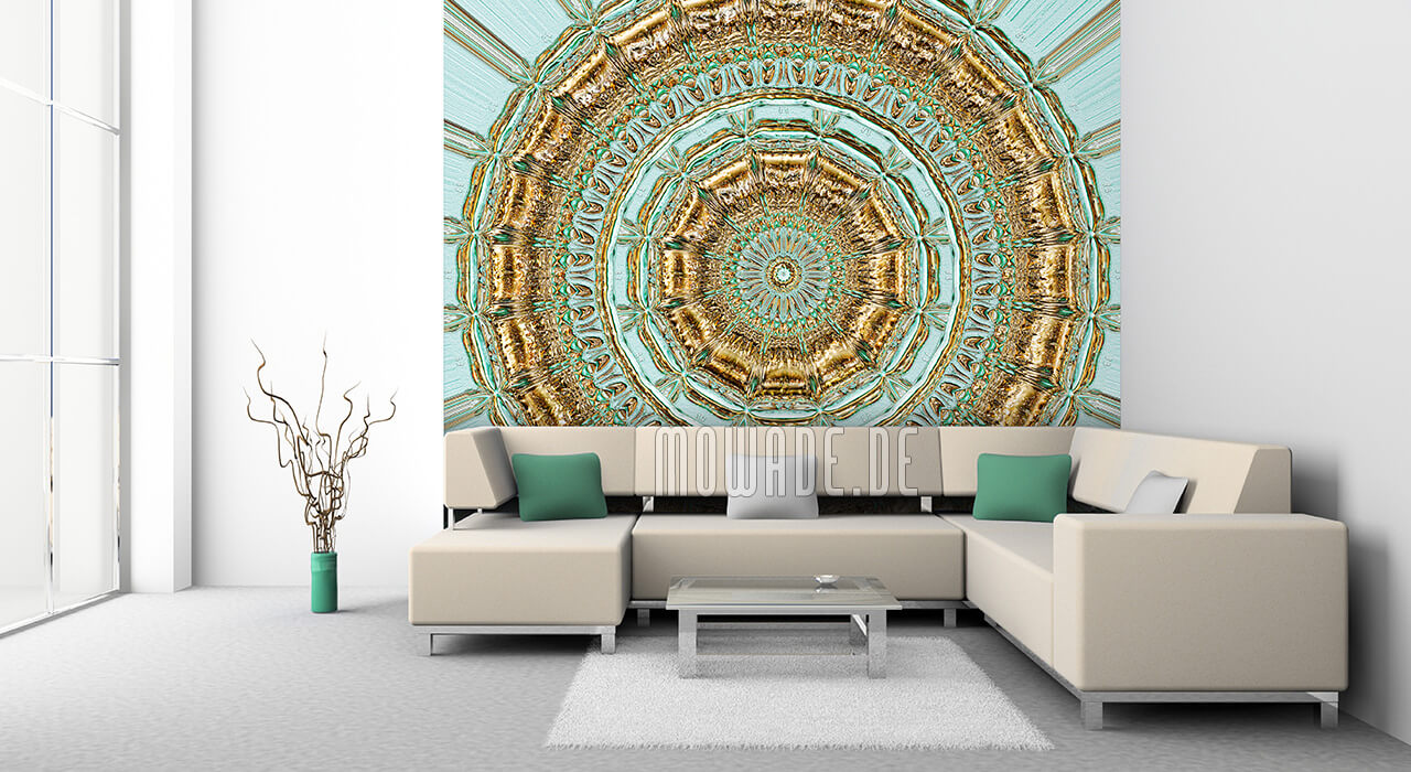 exklusive wandgestaltung palazzo neo-barock gruen gold rosette-stuck