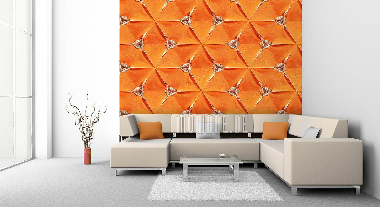 extravagante designtapete orange silber faltpolygon