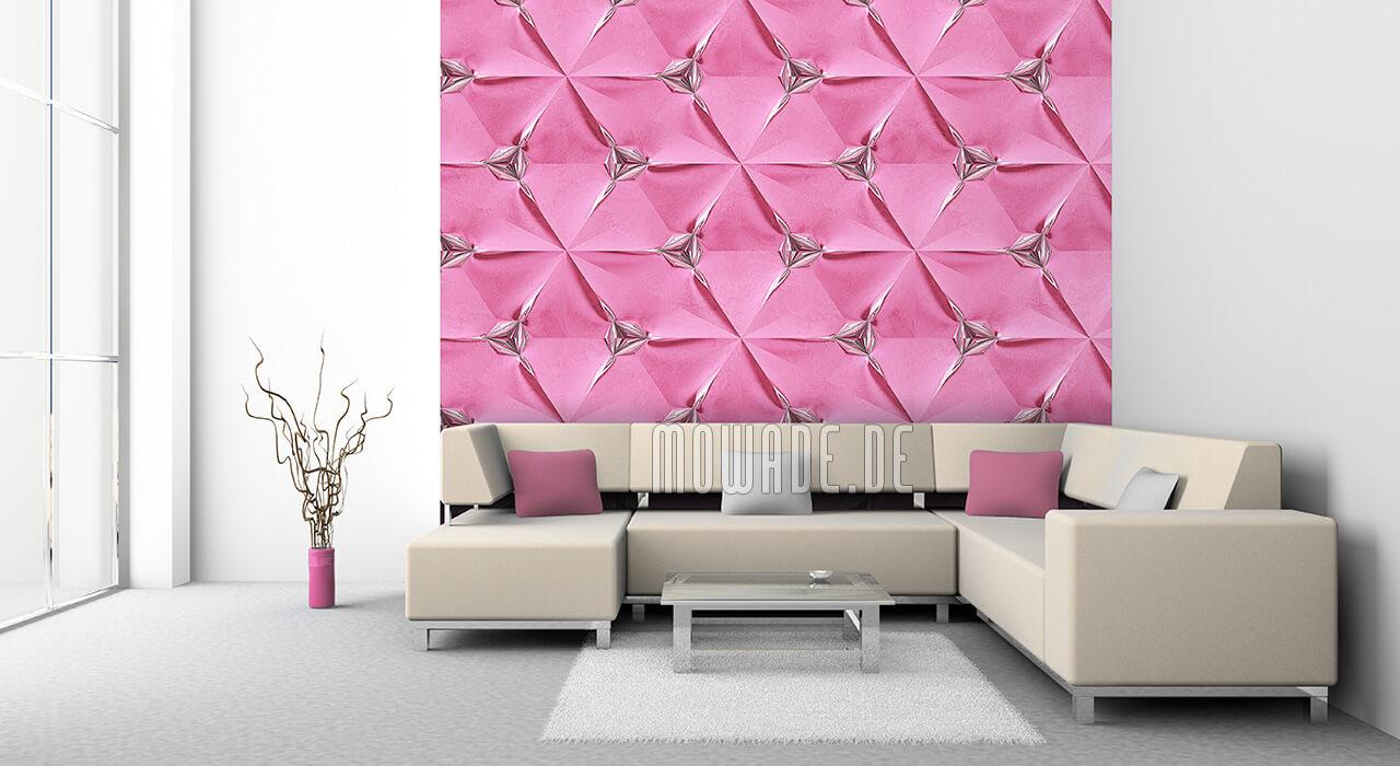 extravagante tapete rosa silber modern faltpolygon