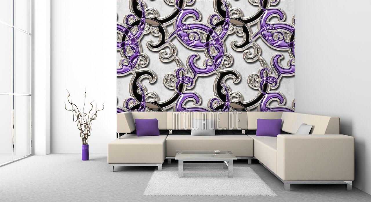 extravagante vliestapete ornament weiss violett schwarz