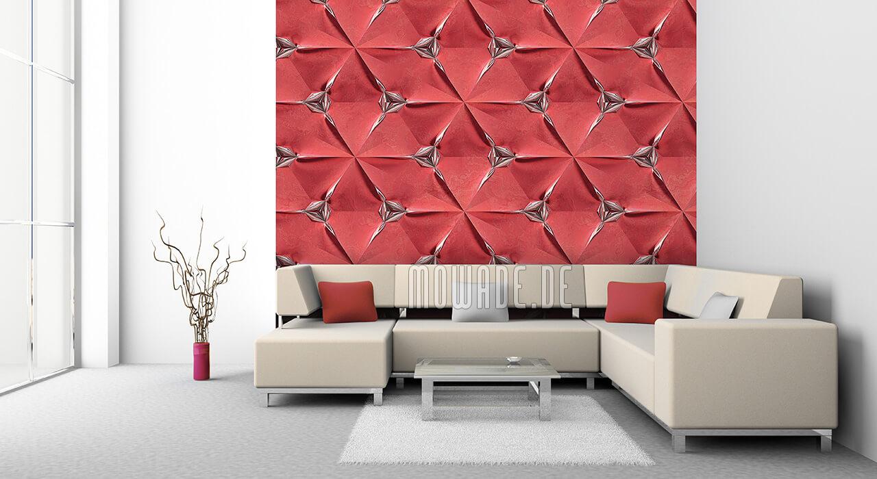 extravagante wandgestaltung rot faltpolygon