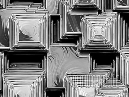 fototapete silber-grau pyramiden-stadt metall-optik