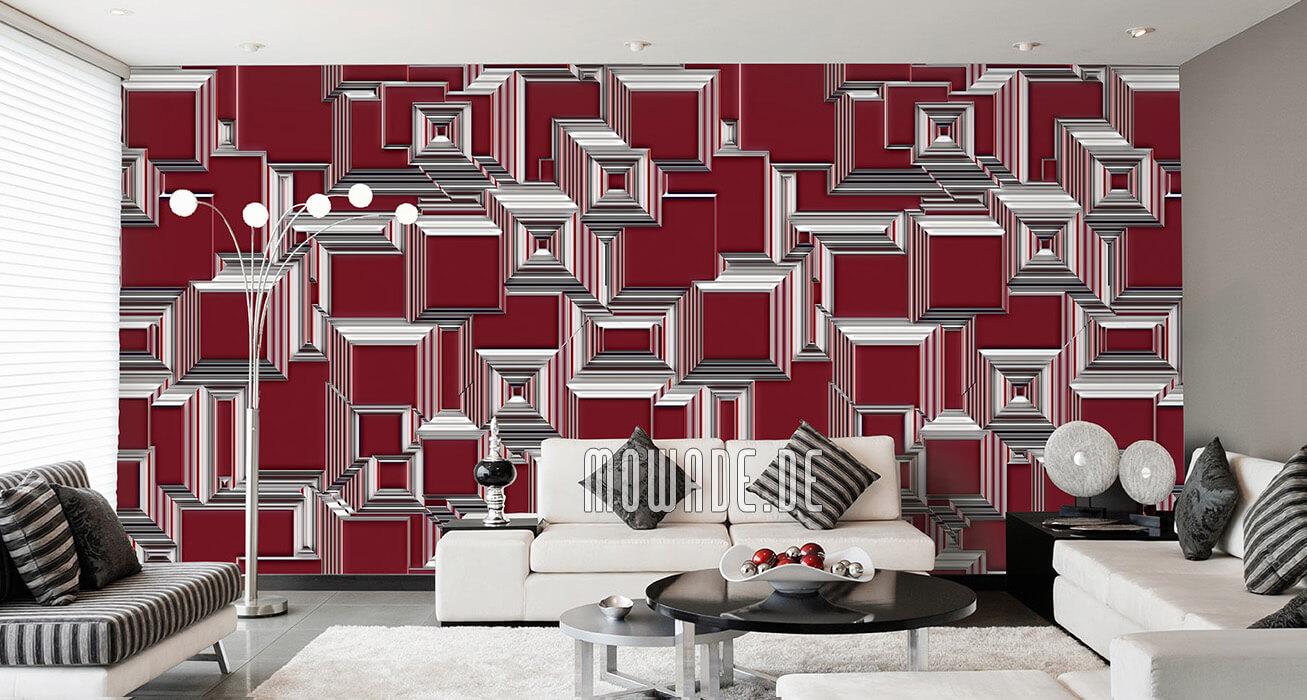 geometrische wand-tapete weinrot abstraktes stadt-bild urban